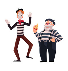 two french mimes young and old in traditional vector image