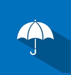 umbrella icon with shade on blue background vector image