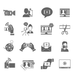 Video Blog Icons Set vector