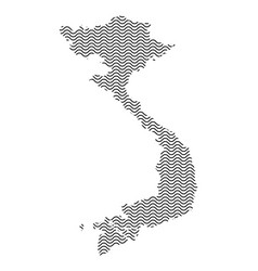 Vietnam map country abstract silhouette of wavy vector