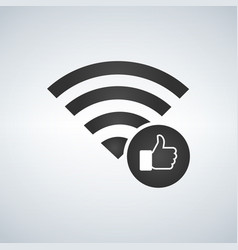 wifi connection signal icon with hand or like vector image