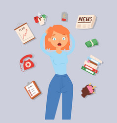 Woman in stress and panic vector