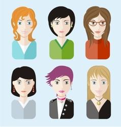 Women avatars portraits on blue background vector