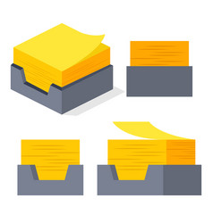 yellow sticker sticky paper notes stack vector image