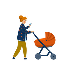 young stylish mother with baby in stroller young vector image