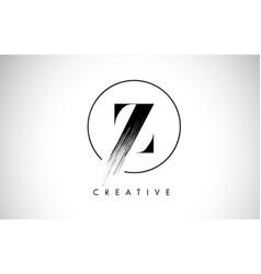 z brush stroke letter logo design black paint vector image