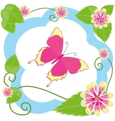 Butterfly among flowers vector image