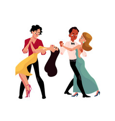 couples of professional ballroom dancers dancing vector image