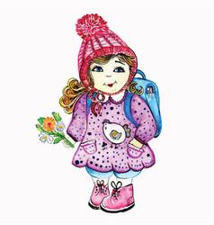 girl schoolgirl goes to school in a cap and vector image