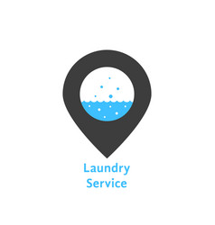 Laundry service with simple pin vector