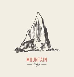 mountain logo style hand drawn vector image vector image