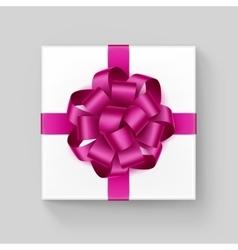Square Gift Box with Dark Pink Ribbon Bow vector image vector image