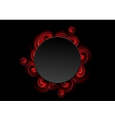 Abstract red swirl shapes and black circle vector image