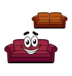 Happy cartoon upholstered couch vector image