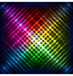 Rainbow neon grid background vector image vector image