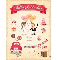 Set of Wedding cartoon design elements vector image vector image