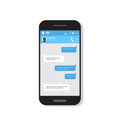 smart phone with chatting sms bubble messages vector image