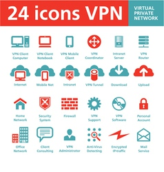 24 icons vpn - virtual private network vector
