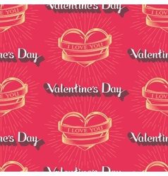I love you Happy Valentines Day seamless pattern vector image