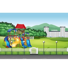 Playground in the middle of the field vector image