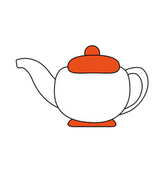 Sketch color silhouette tea kettle for hot drinks vector