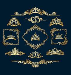victorian style golden decor elements vector image vector image