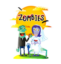 zombies wedding poster with married zombie couple vector image