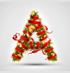 christmas font letter a of christmas tree vector image