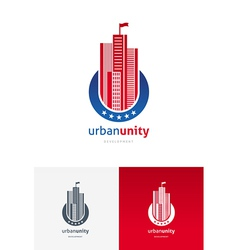 emblem with skyscrapers vector image vector image