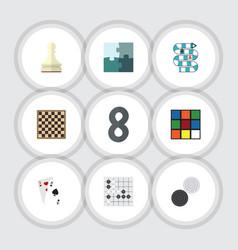 flat icon games set of jigsaw gomoku chess table vector image
