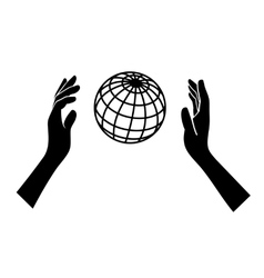 Globe Icon with Hands on White Background vector image