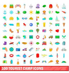 100 tourist camp icons set cartoon style vector image