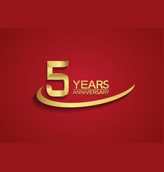 5 years anniversary logo style with swoosh golden vector