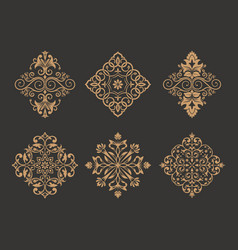 a set of flower gold ornaments in east style vector image