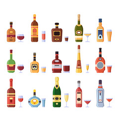 Alcohol bottles and glasses alcoholic bottle with vector