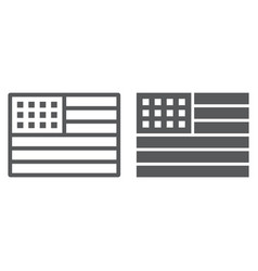 american flag line and glyph icon usa national vector image