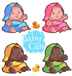 Baby wrapped in bath towel and rubber duck vector image vector image
