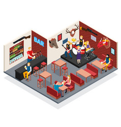 bar live music isometric composition vector image