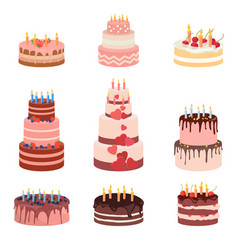 bday sweet baked isolated cakes set strawberry vector image