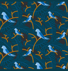 Birds on branches with dense leaves blue dark vector