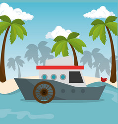 boat transport beach sea vector image