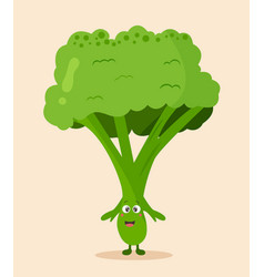 bright poster with cute cartoon broccoli vector image