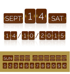 Brown flat calendar with analog flip timer vector