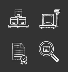 cargo shipping chalk icons set vector image