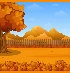 cartoon autumn landscape wooden fencemountains vector image