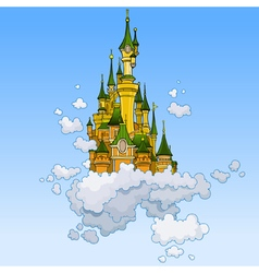 Cartoon fantasy castle flying in the clouds vector