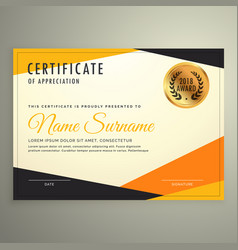Certificate design template with clean modern vector