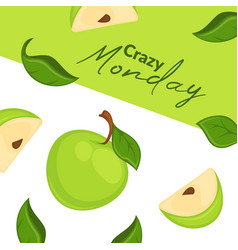 crazy monday fresh apples ads in supermarket vector image