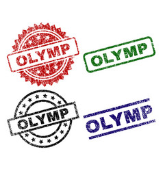 Damaged textured olymp seal stamps vector