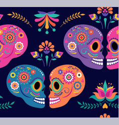 day dead seamless pattern and background vector image